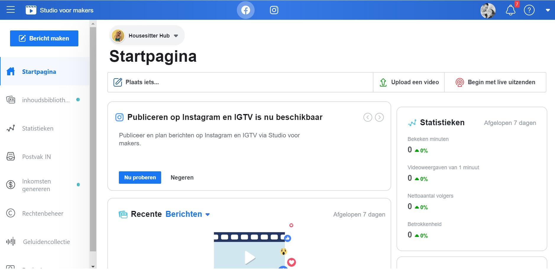 Facebook creator studio printscreen 1