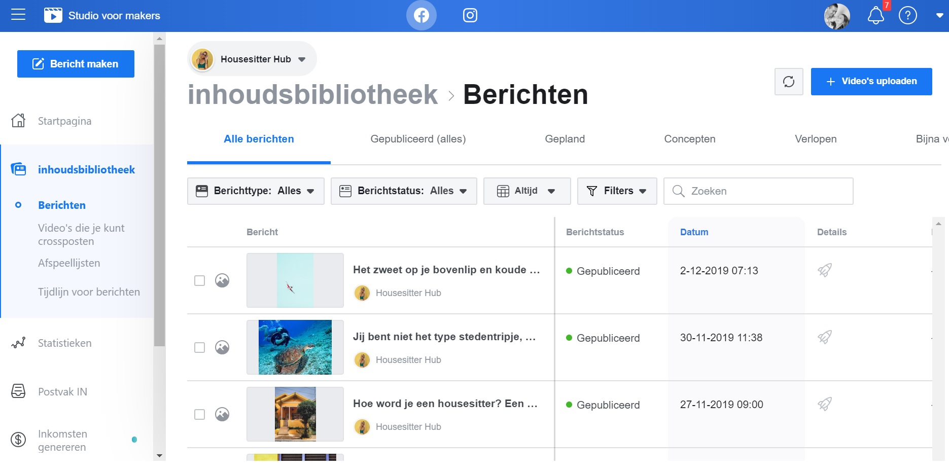 Facebook creator studio printscreen 2