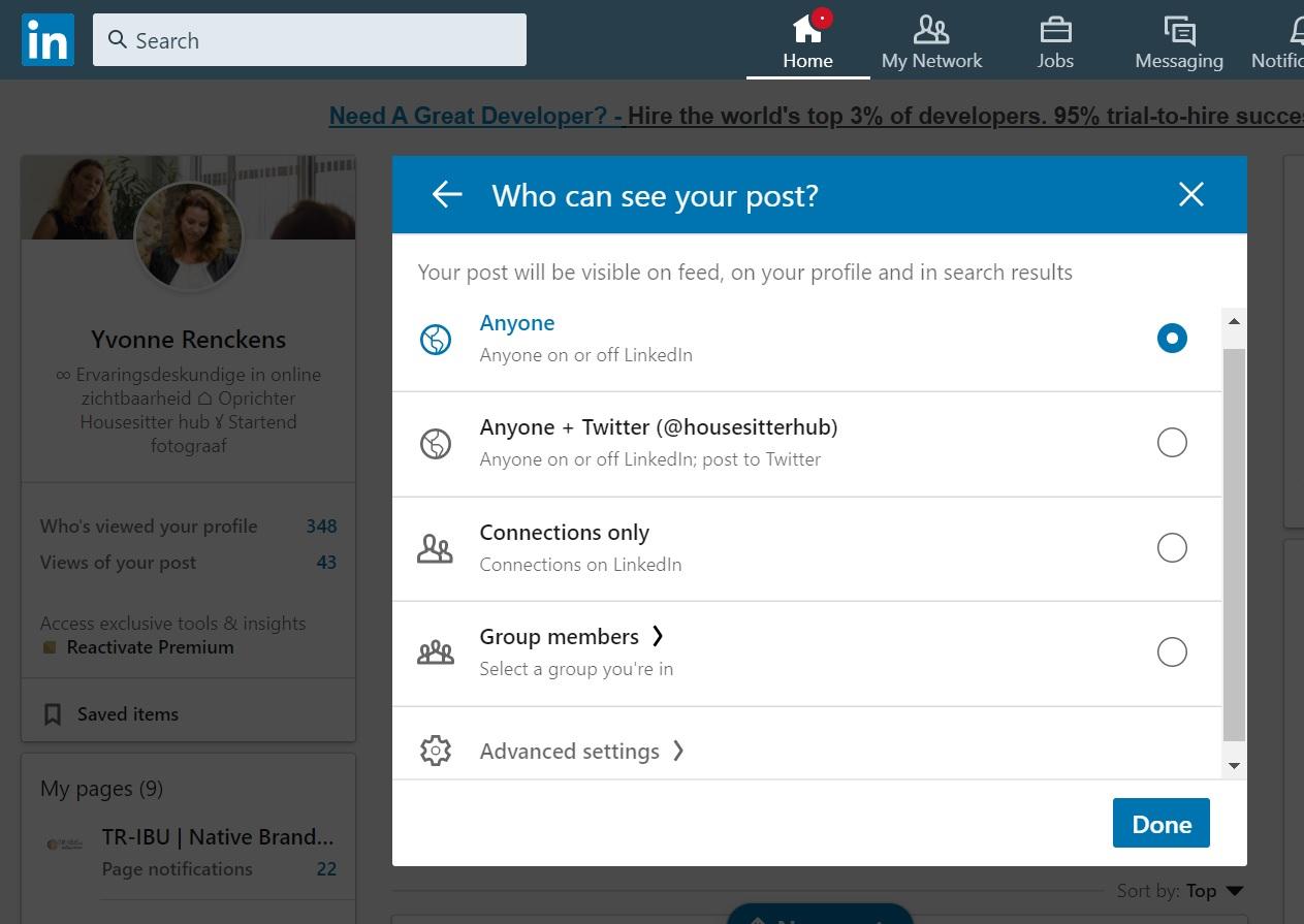 Bereik post LinkedIn