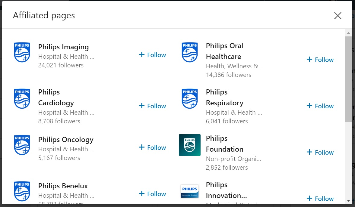 Philips showcasepagina's LinkedIn